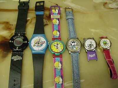 Lot Of 6 Vintage Character Wristwatches, 6 Watches In This Lot For 1 Price