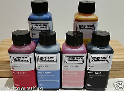 Refill 6x 100ml classic dye ink Epson Stylus Photo R200 R300 RX500 NON OEM