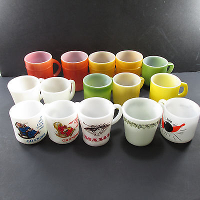 Lot 15 Coffee Cups Mugs Vintage Fire King Anchor Hocking Free Shipping