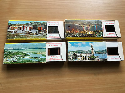 Slides of China and Hong Kong. Four boxes holding 20 slides each.