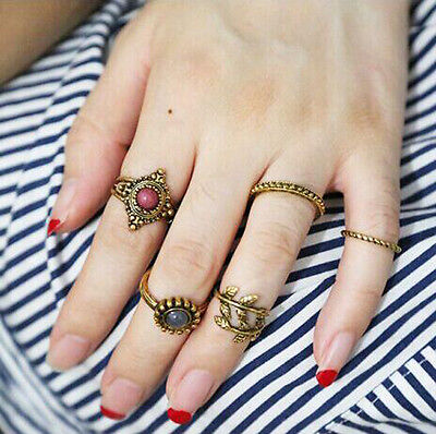 5Pcs/Set Women Knuckle Rings Tribal Ethnic Hippie Stone Joint Ring Punk Vintage