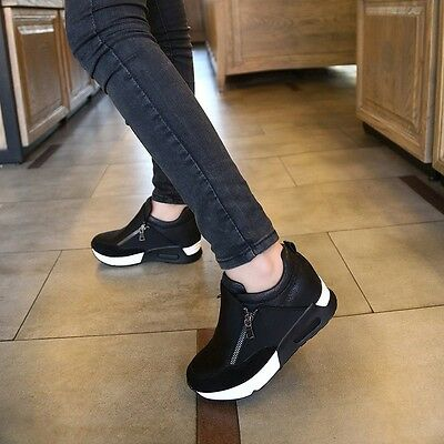 New Casual Women's Sneakers Zip Wedge Hidden Heel Running Sport Shoes Trainers
