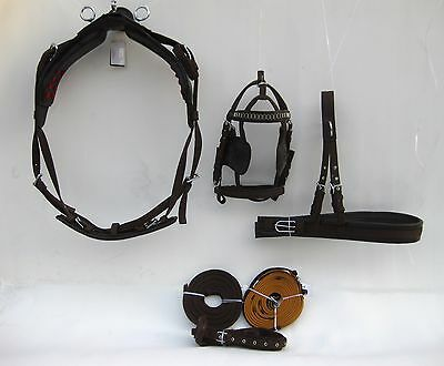 Nylon Single Horse Driving Harness Brown Color In Full,cob,pony,shetland Sizes