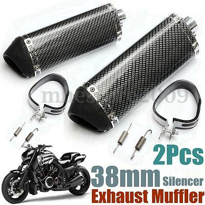 2x 38mm Motorcycle Carbon Fiber Exhaust Muffler w/ Removable Silencer Slip on