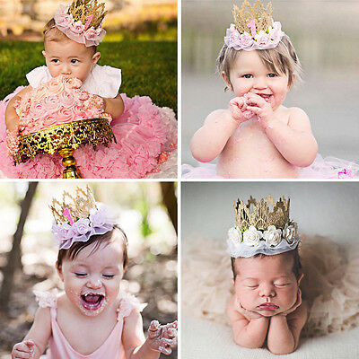 Newborn Baby Girl 1st Birthday Party Flower Princess Crown Headband Photo Props