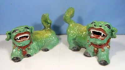 Antique rare ceramic foo dogs pair circa 1920s  hand made hand painted