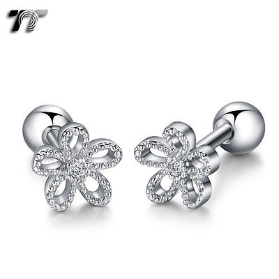 TT Silver Surgical Steel Flower Cartilage Tragus Earrings (TR38S) NEW