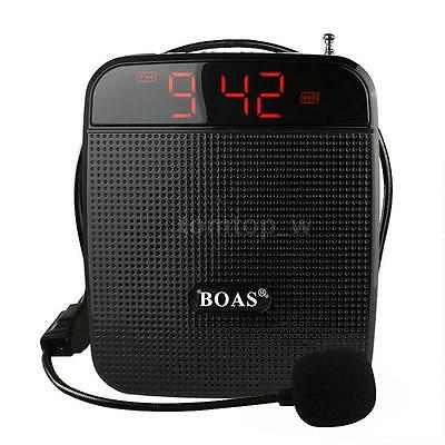 Portable Waistband Voice Booster PA Amplifier Loud Speaker Microphone MP3 FM