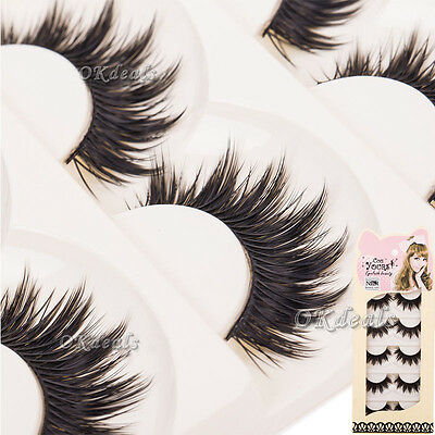5 Pairs Makeup Thick False Eyelashes Eye Lashes Long Black Nautral Handmade JYL