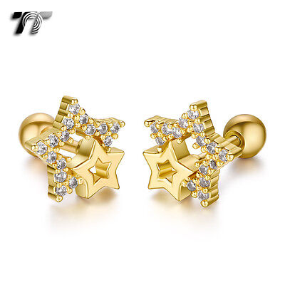 TT Gold Surgical Steel Multi CZ Star Cartilage Tragus Earrings (TR34J) NEW
