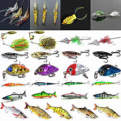 Fishing Lures Minnow  Bass Hook Spoons Frog Wire Bait Crankbait Tackle Crank New