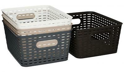 Medium Rattan Style Plastic Kitchen Storage Basket Garden Home Choice Of Colours
