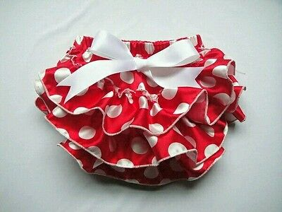Baby Girls Frilly Tutu Knickers Bloomers Boutique Cake Smash Red polka dot Spots