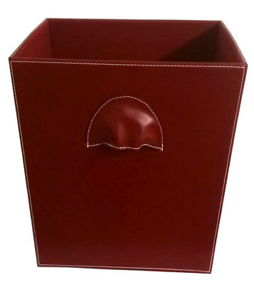 Red Faux Leather Office Home Kitchen Waste Rubbish Bin Box Basket 31.5 cm Height