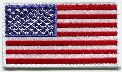 AMERICAN FLAG u.s.a. white border EMBROIDERED IRON-ON PATCH us usa FREE SHIPPING