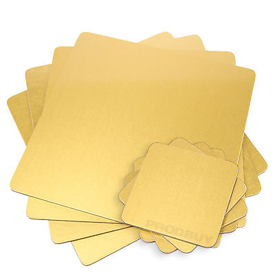 Set of 4 Gold Placemats & Coasters Square Cork Dining Table Mats Place Settings