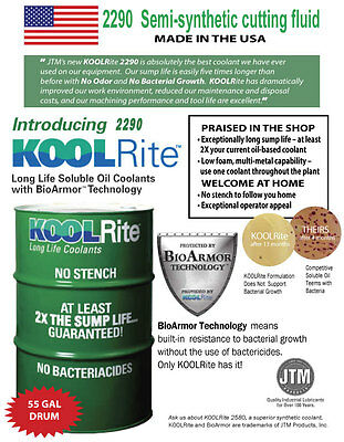 55 gal KOOLRite 2290 SOLUBLE OIL COOLANT HAAS cutting fluid CNC MILLING LATHE