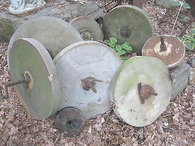 Lot Of 7 Antique Architectural Flower Garden Statue Mill Grinding Wheel  Stone