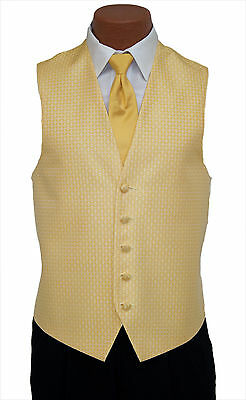 Small Mens Gold Rapture Fullback Wedding Prom Party Formal Tuxedo Vest and Tie