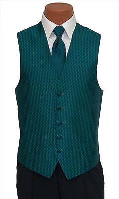 M-Long Mens Teal Rapture Fullback Wedding Prom Party Formal Tuxedo Vest and Tie