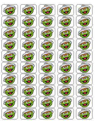 """50 Oscar The Grouch Face Envelope Seals / Labels / Stickers, 1"""" by 1.5"""""""