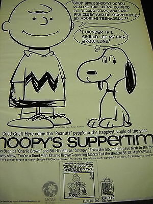 PEANUTS Charlie Brown SNOOPY SUPPERTIME preserved 1967 PROMO DISPLAY AD