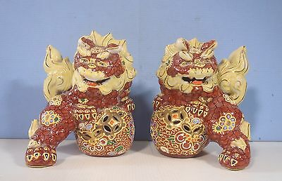 Vintage porcelain foo dogs one pair hand painted circa mid century used cx2