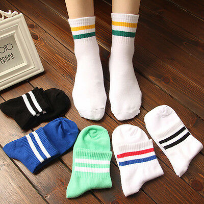 Women's Men's Sport Ankle Socks Girl Casual Cotton Socks Cute Striped High Socks