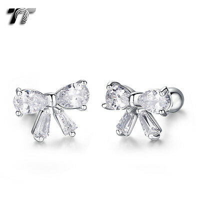 TT Silver Surgical Steel Clear CZ Bow Cartilage Tragus Earrings (TR35S) NEW