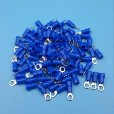 100x Fully Insulated Blue 4.3MM Ring Connector Crimp Electrical Terminal