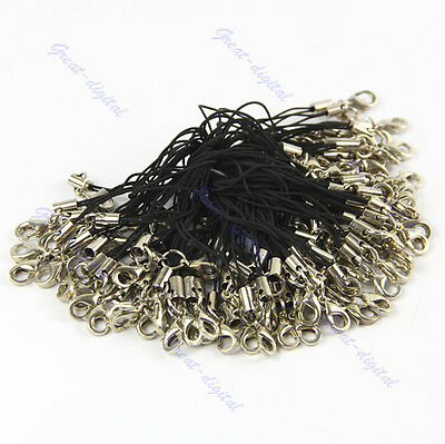 100pcs Charm Cords Cellphone Strap Lariat Clip Lanyards With Lobster Clasp Black