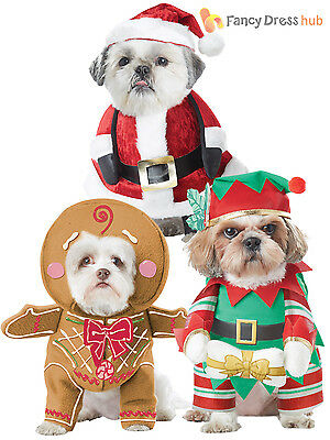 Dog Christmas Fancy Dress Costumes Santa Elf Funny Pet Cat Outfit Clothes Gift