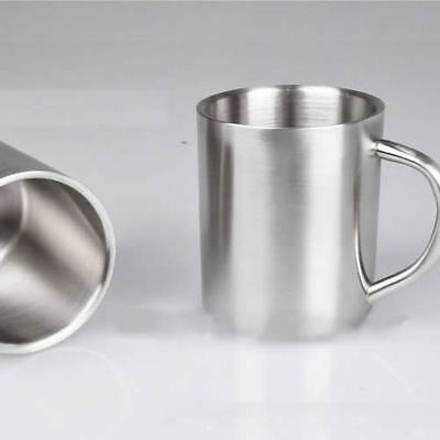 450mL Stainless Steel Coffee Mug Tumbler Camping Mug Double-deck Bilayer Cup New