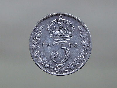 1908 Edward VII Sterling Silver Threepence, Nice Coin - FREE POSTAGE (D840)