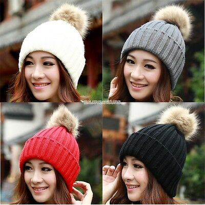 Womens Beanies With Fur Ball Women Beanie Hat Cable Knit Knitted Hat Elastic