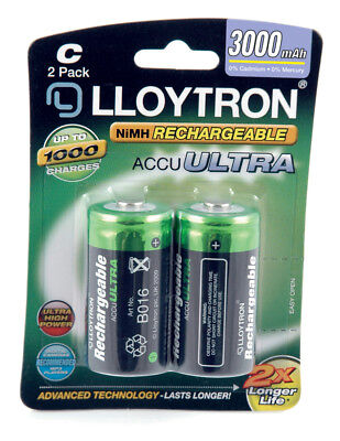 2 Pack Lloytron ACCU ULTRA LR14 C Cell Ni-Mh Rechargeable Batteries 3000mAh