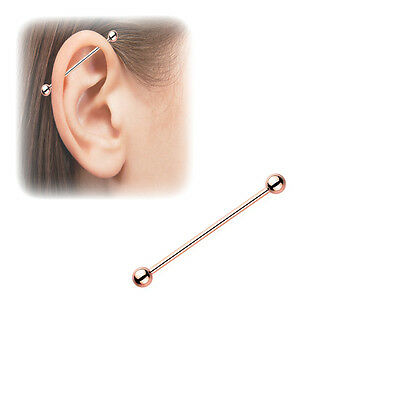 """Industrial Barbell 14G 1.5"""" Rose Gold IP Over Surgical Steel"""