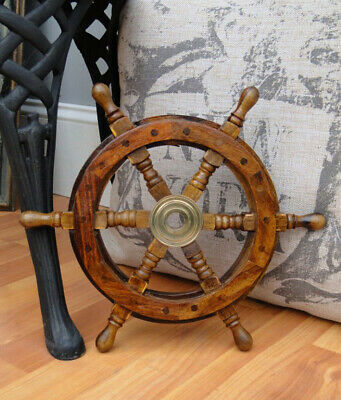 "12"" Ship's Steering Wheel Wood Antique Style Teak Brass Nautical Home Furniture"