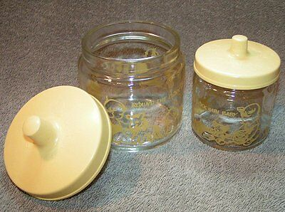 2 Vtg Yellow Around the clock Baby Glass boy/girl Nursery Table jars Containers