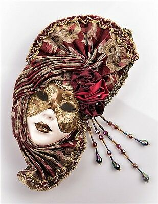 Burgandy Masquerade Style Mask with Face for Hanging - Wall Art