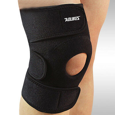 Adjustable Knee Patella Support Brace Sleeve Wrap Cap Stabilizer Sports Black #L