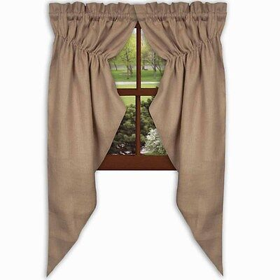 """Country wheat Burlap window gathered swag / 63"""" length /Lined/ nice"""