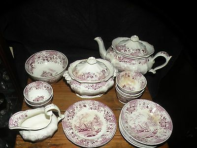 Antique Mulberry Transferware Beehive Child's Toy Teaset Tea Set Staffordshire