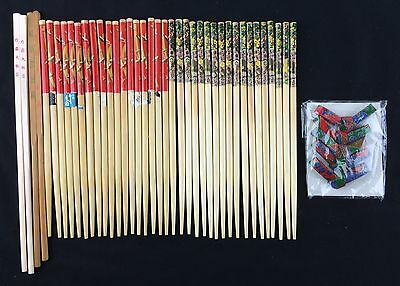 Lot of 20 Pair of Fancy Wooden Chopsticks Chop Sticks Red & Green Paper Wrapped