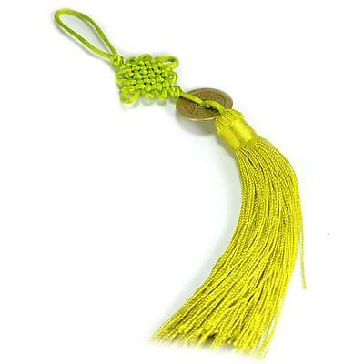 FENG SHUI FORTUNE COIN TASSEL LIGHT GREEN Hanging Cure NEW Family Balance Health
