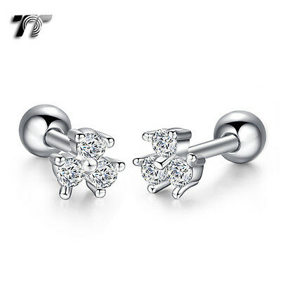 TT Silver Surgical Steel Mini Flower Cartilage Tragus Earrings (TR40S) NEW