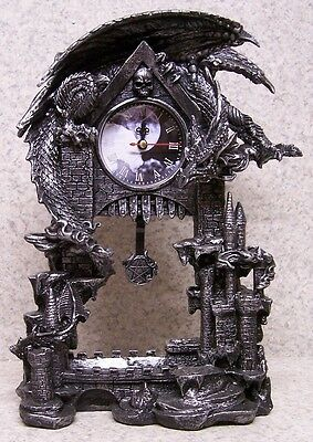 Clock Medieval Dragons Dark Times table shelf fireplace mantel desk NEW