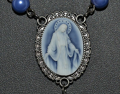 """Blue Cameo Our Lady of Grace Rosary Blue Faux Pearl 7mm Beads 21"""" Zinc Alloy NIB"""