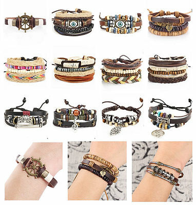 Women Men's Braided Punk Leather Stainless Steel Cuff Bangle Bracelet Wristband