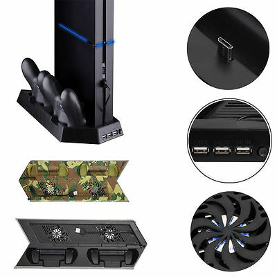 Cooling Station Vertical Stand +2 Controller Charging Dock For PS4 PlayStation 4